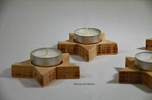 4er Set Teelicht Halter Stern im Natur-Look | Deko | Weihnachten