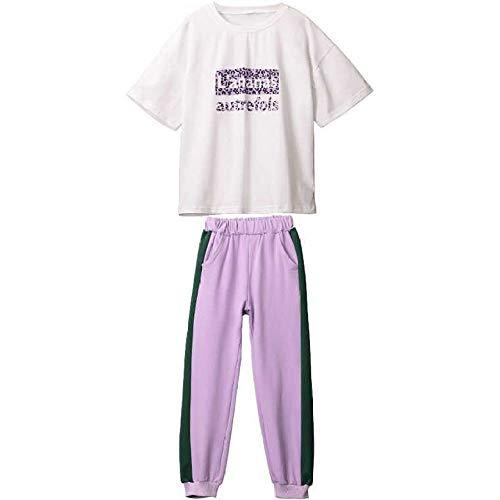 SXSE Pantaloni A Maniche Corte Tuta Sportiva Casual Abbigliamento per Bambini di Grandi Dimensioni Tuta Sportiva per Bambina Tuta per Bambini Bianco + Viola 110-160 Iarde,White+Purple-160