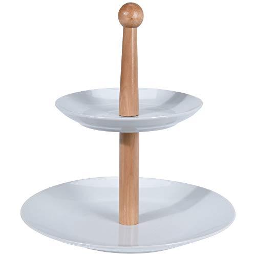 Excellent Houseware - Alzata a 2 Piani, in Porcellana, per Frutta e Verdura, Colore: Bianco