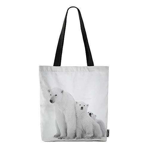 Moslion Eisbär Leinentaschen Natur Safari Arktis Tier Eisbär mit Jungwürfeln Schneetasche Laptoptaschen Groß Bulk Wiederverwendbar für Damen Herren Arbeit Studium 38,1 x 40,6 cm Weiß