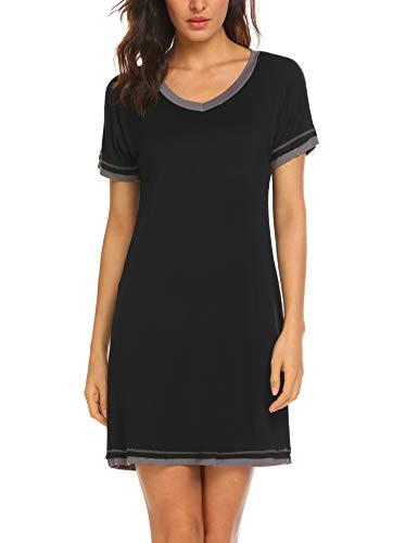 Lucyme Damen Basic Nachthemd Baumwolle mit Kräuselrändern Kurz Nachtkleid Kurzarm Sleepshirt, 7025 Schwarz, EU 44(Herstellergröße: XXL)