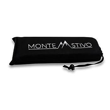 Monte Stivo Expedition | Coussin Isolant d?Assise, Surface 30 x 40 cm, Enfants et Adultes, Pliable en 4 | pour randonnée (Noir)