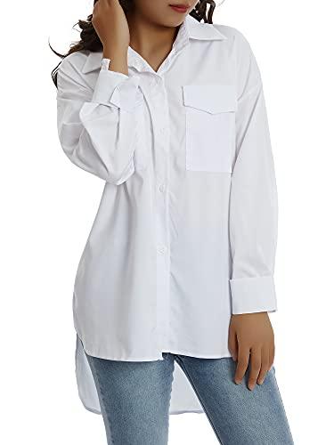 Siyova Camisa de mujer elegante de manga larga informal con solapa y cuello en V para mujer, con botones en la parte superior, para oficina, de raso de color liso, blanco, M