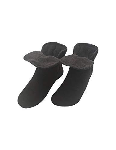 RAIKOU Hausschuhe für Damen, Herren für drinnen aus Micro Fleece mit ABS und Rutschfester Sohle,Haussocken Stoppersocken mit Super Flauschige Hüttenschuhe (Schwarz/Zinn,40/43)