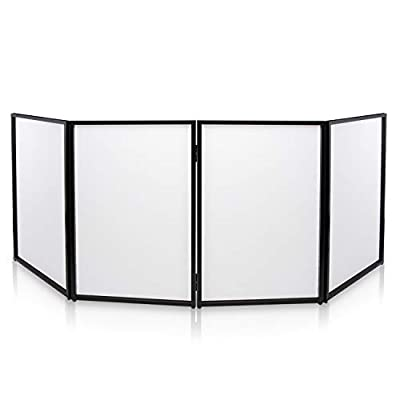 DJ Booth Foldable Cover Screen - Portable Event Facade Front Board Video Light Projector Display Scrim Panel with Folding Steel Frame Panel Stand, Stretchable Lycra Spandex - Pyle PDJFAC10 (White) by Sound Around