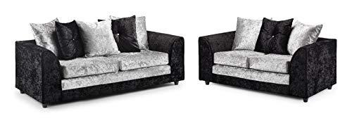 Honeypot - Sofa - Harley - 3 + 2 Seater - Corner Sofa - Footstool - Crushed Velvet - (Black/Silver, 3 + 2 Seater)