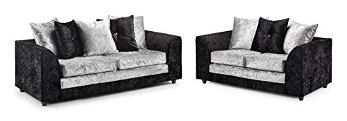 Honeypot - Sofa - Harley - 3 + 2 Seater - Corner Sofa - Footstool - Crushed Velvet - (Black/Silver, 3 + 2 Seater)