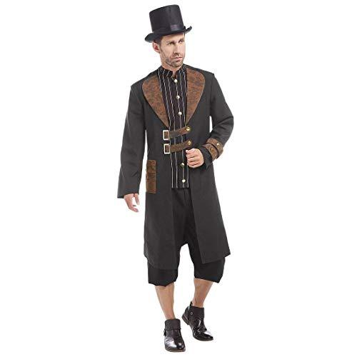 NET TOYS Extravagantes Steampunk-Kostüm für Herren - Braun-Schwarz XL (54) - Wertige Männer-Bekleidung Clockwork Mantel mit Hemd & Hut - EIN Blickfang für Mottoparty & Kostümfest