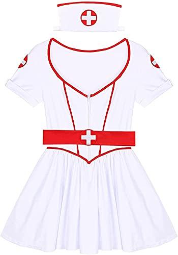 Disfraz de Enfermera médico - Uniformes de Vestir traviesos para Mujeres Adultas Trajes de Cosplay de sirvienta Sexy de Halloween (Color : Blanc, Size : S)
