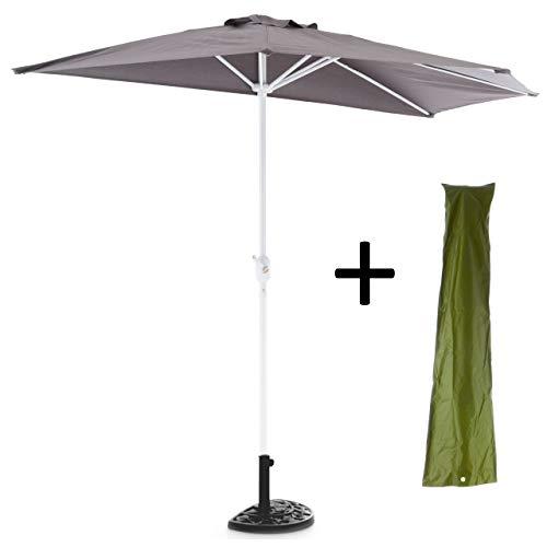 Nexos Sonnenschirm Komplett-Set Grau Halb-Schirm Balkonschirm Wandschirm halbrund 2,70m Schirmständer Schirmschutzhülle Anthrazit