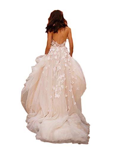 Madedress - Vestido de playa para boda, con flores 3D, escote en...