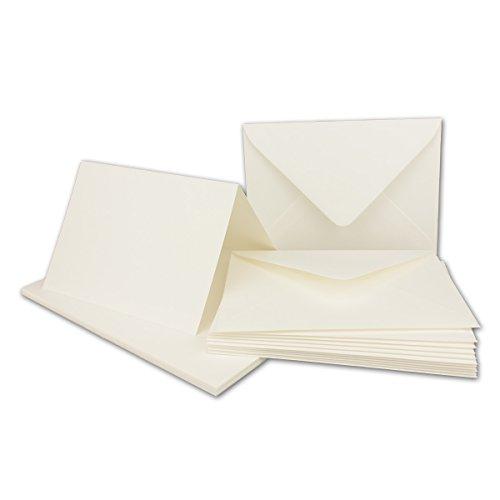 Falt-Karten Set mit Brief-Umschlägen DIN A6 / C6 in Naturweiß - 25 Sets - 14,8 x 10,5 cm - Premium Qualität - Serie FarbenFroh®