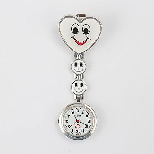 LLRR Reloj de Enfermera Fob,Sonrisa en Forma de corazón Que cuelga la Mesa de la Enfermera, Mesa de Cadena Digital médica-Blanco,Mujeres médico Enfermeras Reloj