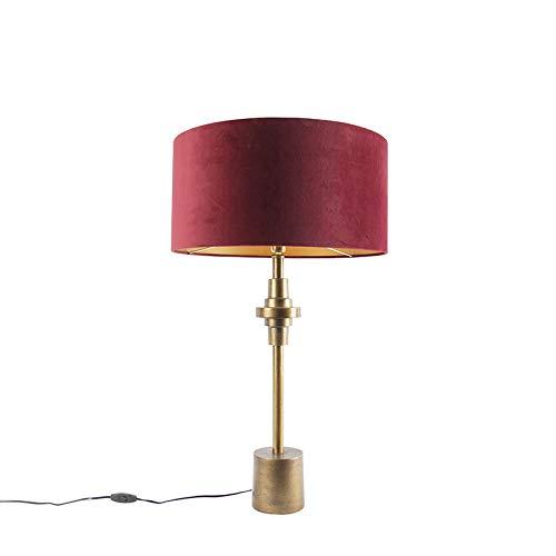 QAZQA Art Deco Art deco tafellamp brons met velours rode kap 50 cm - Diverso Aluminium/Stof Cilinder/Langwerpig Geschikt voor LED Max. 1 x 40 Watt