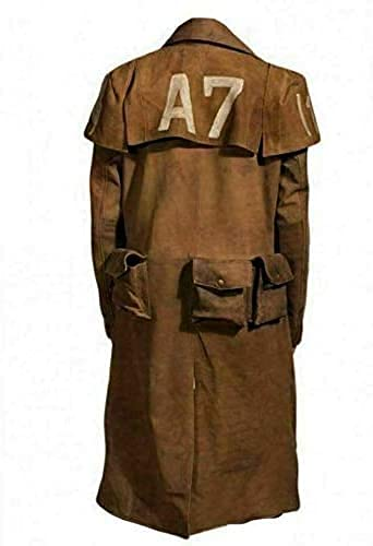 New Mens Vegas A7 Veteran Ranger Classic Armor Coat - Cosplay Leather Trench Coat (X-Large, Brown - Real Leather)