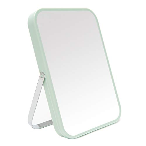 YEAKE Table Desk Vanity Makeup Mirror,8-Inch Portable Folding Mirror with Metal Stand 90°Adjustable Rotation Tavel Make Up Mirror Hanging Bathroom for Shower Shaving(Green)