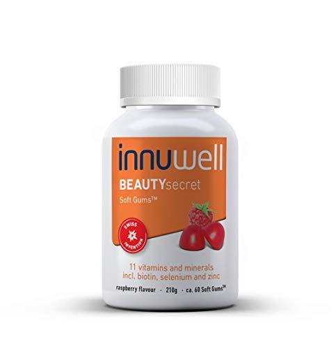Innuwell BEAUTYsecret - 11 vitaminen en mineralen - Voor haar, huid en nagels - beauty supplement - Vitamine A, B6, B12, C en E - Biotine, Niacine, Foliumzuur, Iodine, Selenium en Zink - ca. 60 Soft Gums™