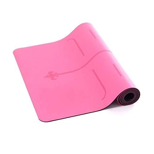 8bayfa 5mmPU Naturkautschuk Yoga-Matte Weiblich Männlich Anfänger Positionslinie Übung Fitness-Matte Anti-Rutsch-Yoga-Matte.1218 (Color : Pink, Size : 6.5mm)