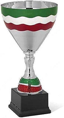 Coppa avec tasse en métal et corps en ABS chromé avec décor triCouleure H 34,50cm la plaque est comprise dans le prix