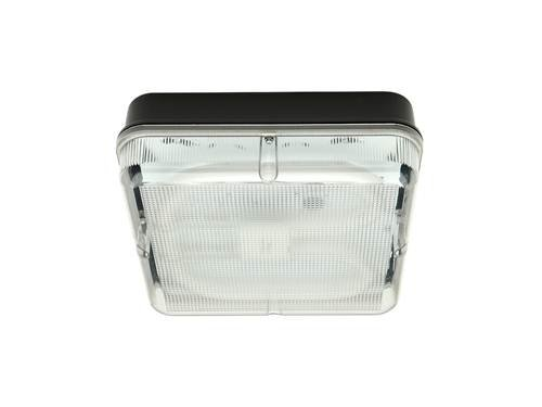 Knightsbridge IP65 HF - Lámpara cuadrada de emergencia con difusor prismático y base negra, 28 W,...