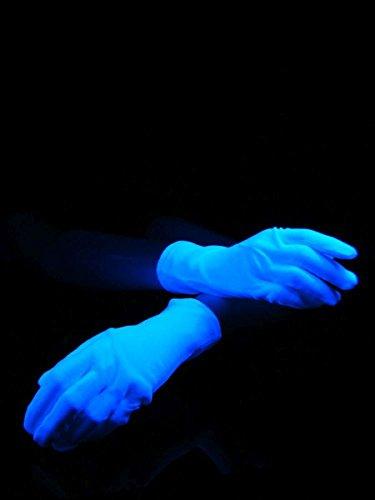 Paar Schwarzlicht Handschuhe für Kinder Kurz Weißblau