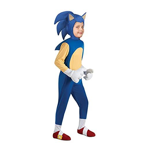 ACCLD Speed Crossing Cartoon Sonic Kids Juego Disfraces de Personajes Niños Niñas Halloween Cosplay Fiesta temática Juego de rol Traje de Vestir,Azul,S