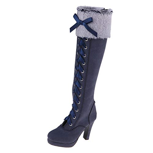 HomeDecTime Botas de Montar hasta La Rodilla con Cordones a Escala 1/3 para Muñeca Lolita Nocturna de 60 Cm Y Otras Muñecas Articuladas con Bola BJD de 24 Pulgada - Azul Oscuro