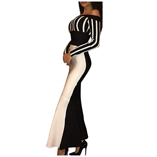 Women Casual Long Sleeve Sexy One Collar Stripe Bag Buttocks Party Dress Black and White Stitching Long Dress