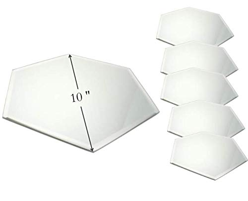 Hexagonal Mirror Tray – Set of 6 – 10 Inch Diameter – Use as Candle Plate, Table Centerpieces, Wall Décor.