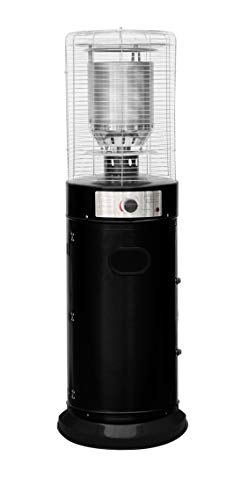 Freestanding Bullet Style Outdoor Gas Patio Heater 5-11kW Powder Coated Steel Casing - Stainless Steel Cage for Garden/Patios