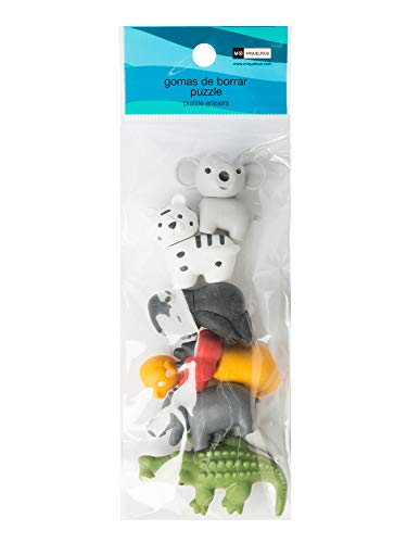Pack bolsa 6 gomas de borrar puzzle desmontables safari 2