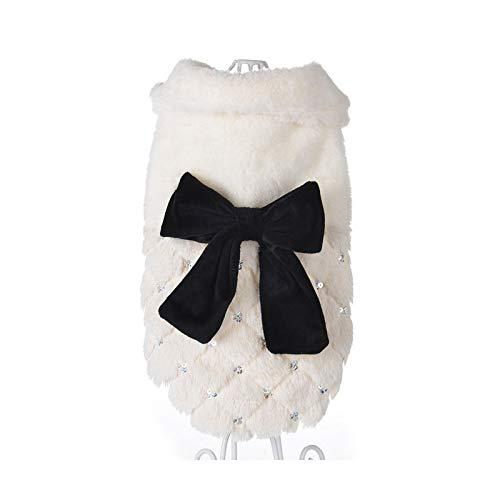 Moda lentejuelas invierno mascota perro ropa elegante cachorro blanco mascota gato abrigo chaquetas para perros piel nudo arco chihuahua ropa mono-blanco-XS