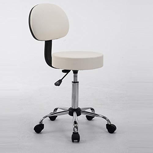 DWXN Metall Hocker auf Rolle,Werkstatt Rollhocker mit Weiß PU Kunstleder Bezogener Sitz,Sitzhöhe ca. 52-60 cm,bis 160kg,Kosmetikhocker mit Lehne für Zahnärzte, Ärzte