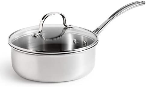 Calphalon Triply Stainless 2-1/2-Quart Shallow Saucepan with Glass Lid
