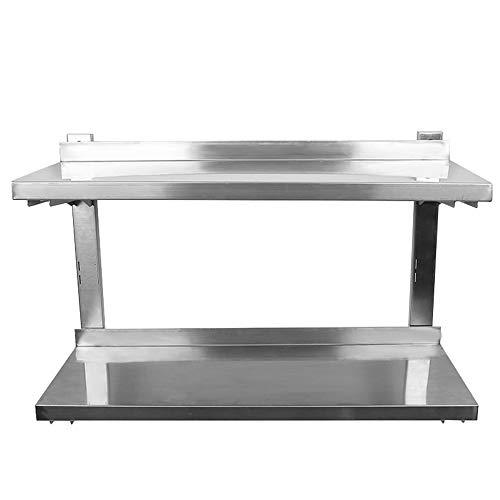 Wefun Edelstahl Wandregal für Küche,Gastronomie Küchenregal Edelstahlregal,2-Schicht-Höhenverstellbar Einlegeböden