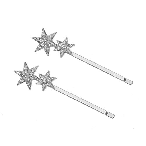 Lurrose 2pcs épingles à cheveux en métal épingles à cheveux géométrie strass étoiles clips de cheveux pince de bord clip pinces nouveau style accessoires de cheveux (argent)