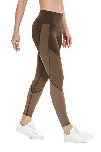 QUEENIEKE Women Workout Leggings Color Blocking Mid-Waist Running Tights S Brown-Color Blocking