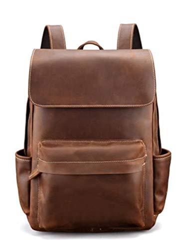 Bolso de cuero retro de los hombres de la primera capa de cuero de vaca de los hombres mochila Crazy Horse cuero bolsa de viaje de gran capacidad, Brown, Large
