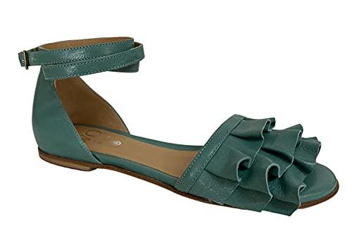 WO MILANO Sandalo Donna Basso Colore Verde Salvia Art 990 Pelle 100% Pelle Made in Italy (Numeric_38)
