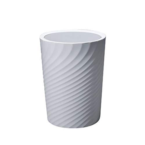 Cubo de basura de plástico con tapa giratoria en forma de cubo grande, totalmente sellado y extraíble para el hogar cocina papelera (color: gris, tamaño: L)