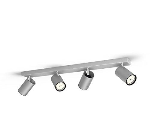 Philips Kosipo Faretto con 4 Punti Luce, Alluminio, Attacco GU10, Lampadina non Inclusa, Grigio