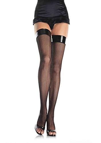 Leg Avenue Women's Fishnet Thigh Highs, Black Vinyl Top, One Size