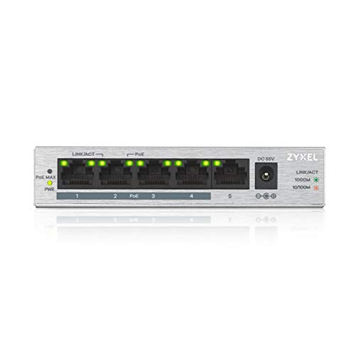 Zyxel Gigabit Unmanaged PoE+ Switch mit 5 Ports (davon 4 mit PoE) und einem PoE-Budget von 60 Watt, Lifetime Garantie [GS1005HP]