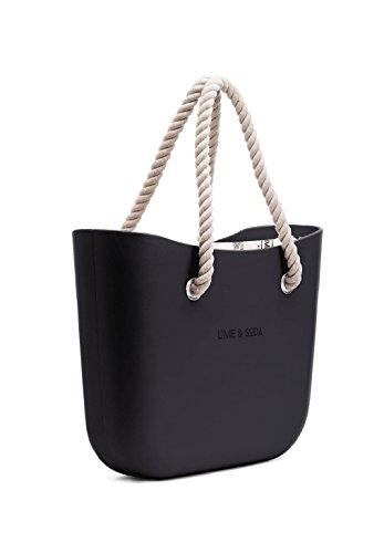 Lime & Soda Damen-Handtasche aus Eva – Seilgriffe – Mix & Match, Schwarz (schwarz 1), Einheitsgröße