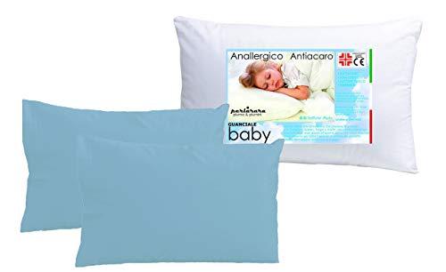 Juego de 2 fundas de almohada Iride by Perlarara para cuna de bebé, 100% puro algodón, 40 x 60 cm, lavable (almohada perlarara baby + 2 fundas de almohada celeste)