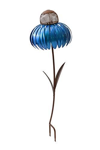 """Desert Steel Blueberry Coneflower Standing Bird Feeder - (Blue - 14""""W x 36""""H) - Outside Garden Art Metal Birdfeeder with Stand"""