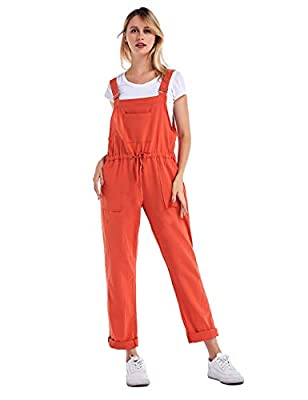 Yeokou Women's Casual Loose Baggy Cotton Linen Jumpsuit Overalls with Pockets(Red-S)