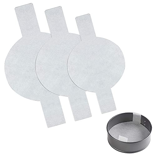 Parchment Paper 120 pcs Precut Parchment Paper Baking Paper Round with Lifting Ring Resign Waterproof Oil-proof for Springform Pans Small Bowls Baking