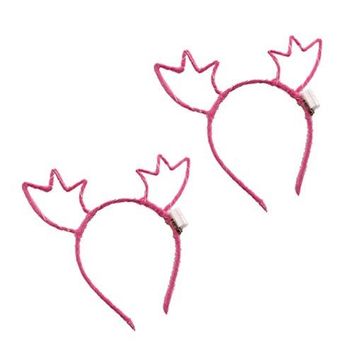 Lurrose 2 stuks kersthoofdband met heldere gloeiende gewei haarband haaraccessoires voor kerstpartijen en dagelijks gebruik.
