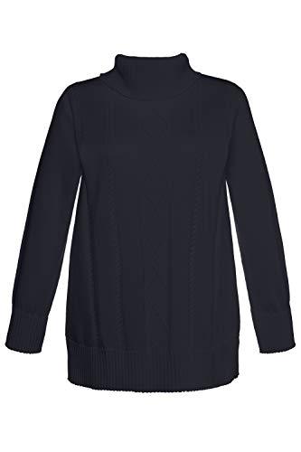 Ulla Popken Damen große Größen | Rollkragen-Pullover | Zopfmuster | Rippbündchen | Regular Fit | bis Größe 62+ | Marine 54/56 707373 70-54+